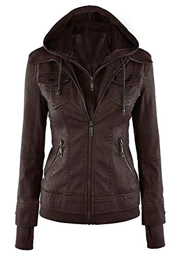 Cuir Blouson Femme Automne Hiver Mode Oversize Veste en Cuir Synthtique  Capuchon Vintage Slim Fit lgant Transition breal avec Fermeture clair Long Manches Veste De Motard Manteau Outerwear Caf