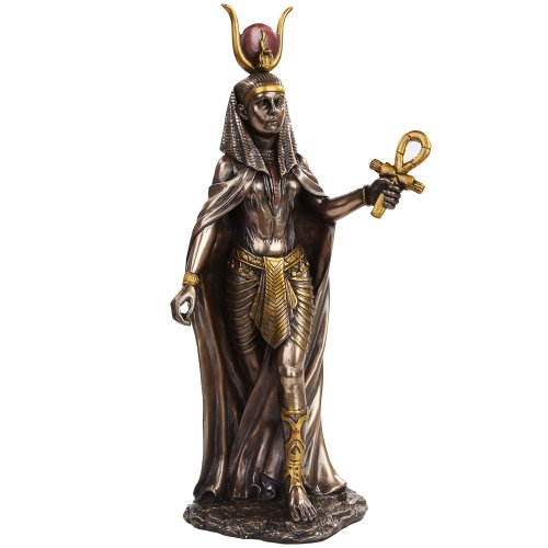 11 Inch Egyptian Hathor Mythological Goddess Bronze Finish Figurine