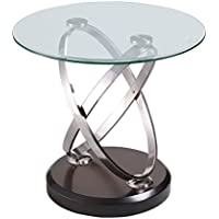 Emerald Home Vision Brown End Table with Round Glass Top, Wood Base, And Chrome Ring Legs