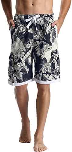 77c2d1fe741de DESTTY Men's Quick Dry Beach Board Shorts Printed Swim Trunks Floral Casual Swim  Shorts with Pockets