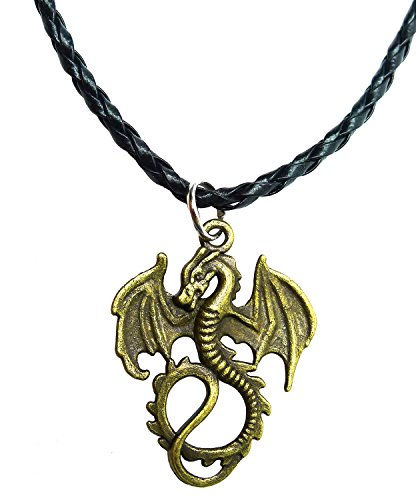 Bijoux De Ja BDJ Antique Bronze Gothic Flying Dragon Pendant P'leather Necklace 16+2 Inches