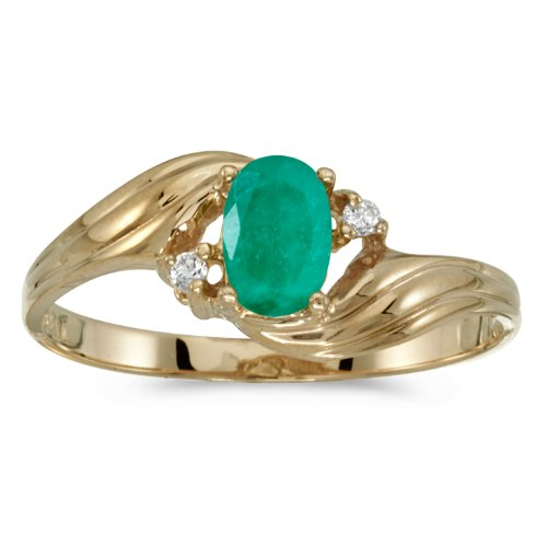 0.34 Carat ctw 14k Gold Oval Green Emerald Solitaire & Diamond Bypass Fashion Cocktail Anniversary Ring - Yellow-gold, Size 8