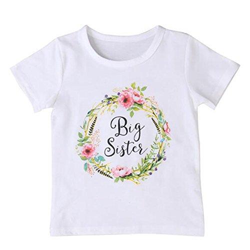 Toddler Girls Big Sister T Shirt Matching Little Sister Baby Bodysuits White (3-4T, Big sis) 100 ()