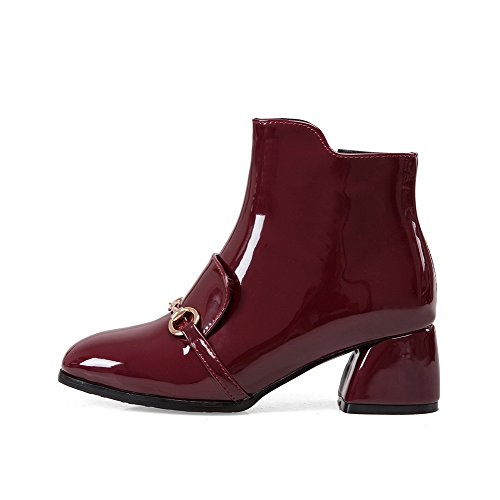 Zipper WeiPoot Toe Solid Closed Women's Heels Kitten Boots Square Claret PU 8aHxZFqa