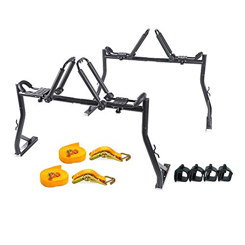 AA Products Model X35 Truck Rack with 8 Non-Drilling C-Clamps and 2 Sets Folding Kayak J-Racks with Ratchet Lashing Straps