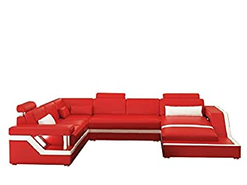 Jvmoebel Design Wohnlandschaft Ledersofa Hamburg Schwarz Rot