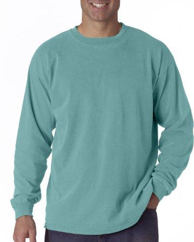 Comfort Kleuren Heren Ringspun Kleding Geverfd Lange Mouwen T-shirt (c6014) Seafoam Pgmdye
