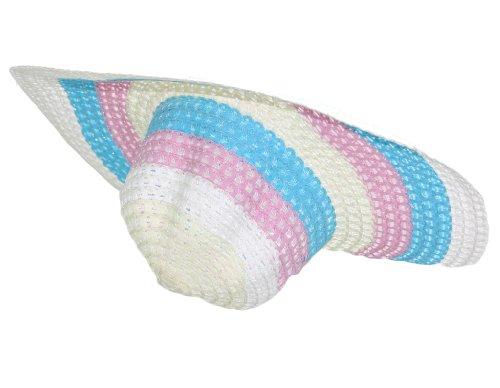 Modischer Damenhut Hut mit breiter Krempe Idealer Schattenspender für den Sommer in Blau Rosa