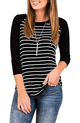 (INFITTY Women's 3/4 Sleeve Raglan Striped T Shirt Round Neck Baseball Loose Tunic Tops Blouse Black Medium)