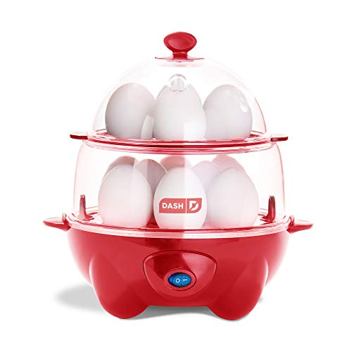 Dash DEC012RD Deluxe Rapid Cooker Electric for Hard Boiled, Poached, Scrambled Eggs, Omelets, Steamed Vegetables, Seafood, Dumplings & More, 12 Capacity, with Auto Shut Off Feature, Red
