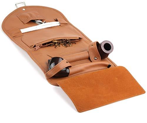 Mr. Brog Elegant Full Grain Leather Tobacco Pipe Pouch Wrap - Tan