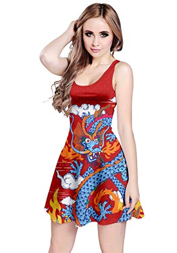 CowCow Womens Red Japanese Dragon Pattern Sleeveless Skater Dress - L