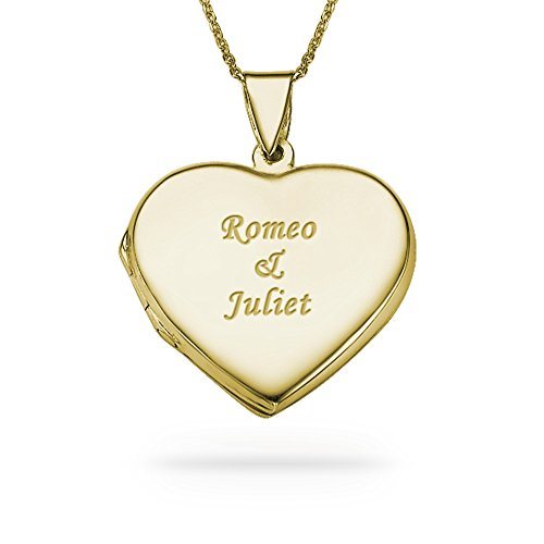 (18K Gold Plated Engraved Heart Locket Necklace - Custom Made with Any Name)