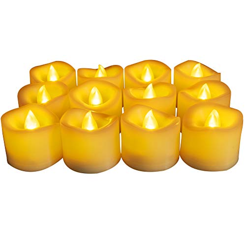 Homemory Flameless Battery Operated Tea Lights with Timer - 500+ Hr. Ultra Long Lasting Battery Life Electric Tealight, Small Timing LED Candle in Amber Yellow - Dia1.5, Melted Edge, Pack of 12 (Is Light Tea What)