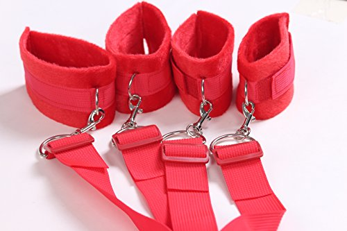 Restraint System Adjustable Size, Soft Fuzzy Cuffs for Wrists and Ankles, Fits Any Size, Medical Grade Underbed Handcuff and Ankle Set (Red)