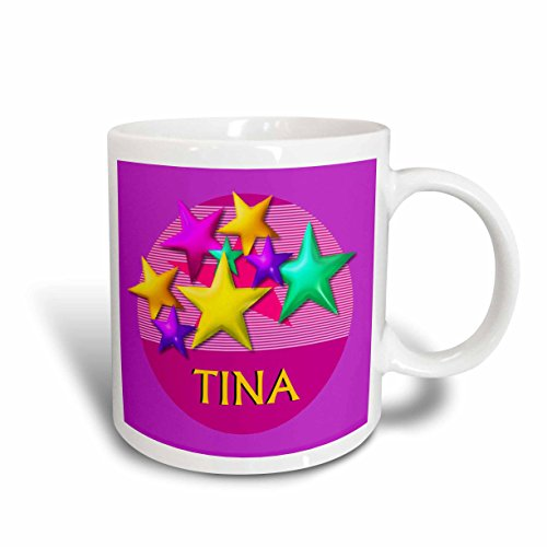 3dRose Vibrant Colored Stars on a Pink Background with The Name Tina Ceramic Mug, 11-Ounce