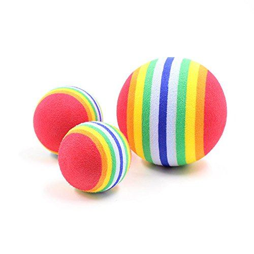 3PCS /SET Colorful EVA Rainbow Ball Cat Dog Training Kitten Pet Supplies Bouncy Ball Pet Chihuahua French Bulldog Supplies Pet Rainbow Ball Cat Bubble Toy Balls Dog Ball Colorful Toy Balls (RED)
