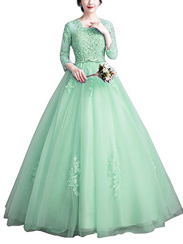 Onlybridal Women's Crew Neck Tulle Long Evening Gowns Appliques 3/4 Sleeve Quinceanera Puffys Dresses Mint