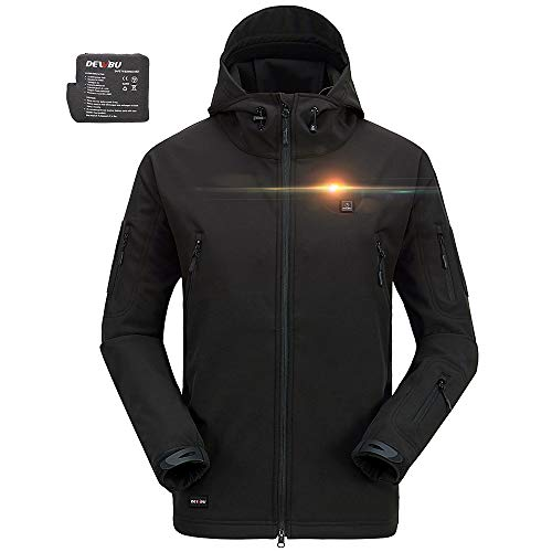 DEWBU Men's Soft Shell Heated Jacket with Battery Pack DB-12 2.0 (Black, XL) - 12 Months Warranty