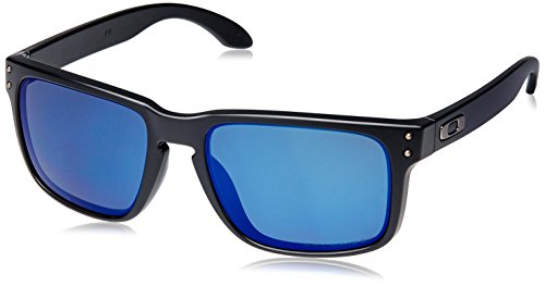 Oakley mens Holbrook OO9102-52 Iridium Polarized Sport Sunglasses,Matte Black/Ice,55 mm (Oakley Ice Iridium compare prices)