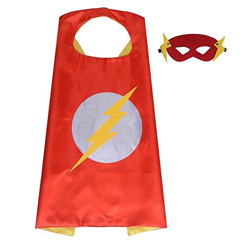 Pawbonds Halloween Costume Superhero Dress Up for Kids - Best Christmas, Birthday Gift, Cosplay Party. Satin Cape and Felt Mask Role Play Set. Cartoon Outfit for Boys and Girls (Flashman)