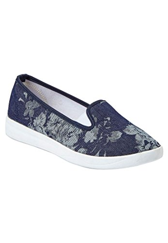 Comfort Kvinners Bredt Dottie Lerret Sneaker Chambray Floral