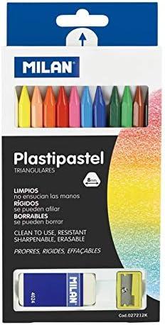 Milan - Caja 12 Ceras de colores Plastipastel de colores + goma + sacapuntas: Amazon.es: Oficina y papelería