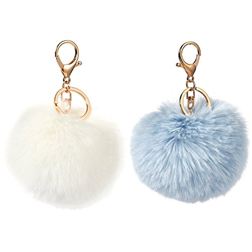 2-Piece Fur Pom Pom Keychains - Faux Fur Fluffy Keychains for Women, Great as Fuzzy Ball Bag Charms, White and Sky Blue, 4.5 x 3.5 x 3.5 Inches