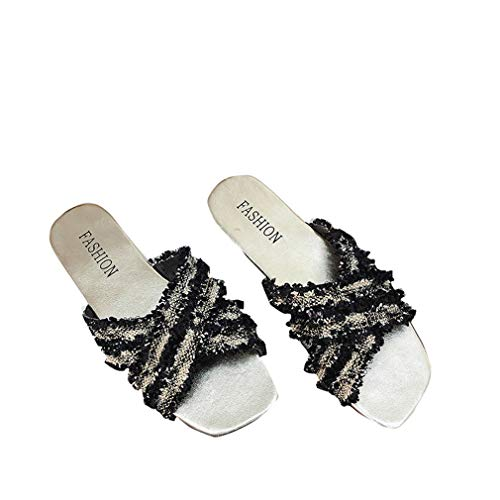 YUCH Ceintures Holiday Cross Black Flat Seaside Femme Chaussure r4Hv7r