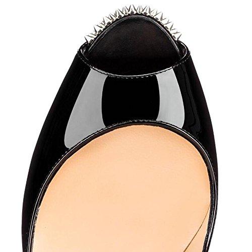 L@YC Mujeres Tacones altos Impermeables De La Tabla De Los Remaches Solas CóModas Sandalias Color Del Leopardo Black