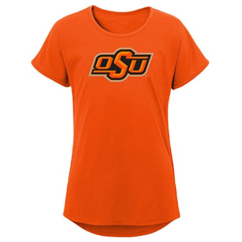 NCAA Oklahoma State Cowboys Youth Girls Primary Logo Dolman Tee, Youth Girls Medium(10-12), Orange