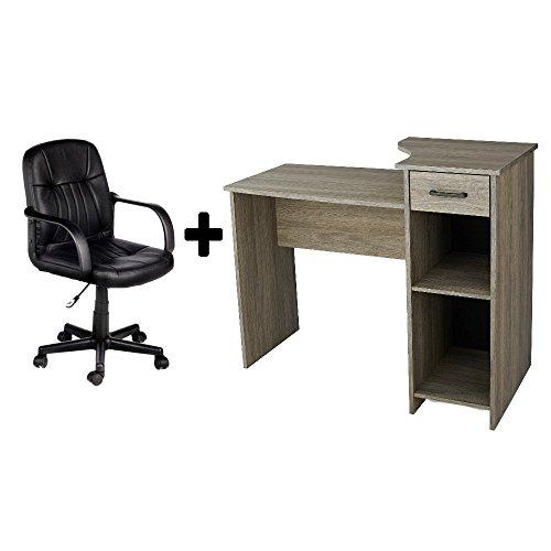 Leather Oak Desk (Student Home/Office Bedroom Furniture Indoor Desk in Rustic Oak with Durable Split-cow Leather Mid-Back Chair in Black, Bundle Set)