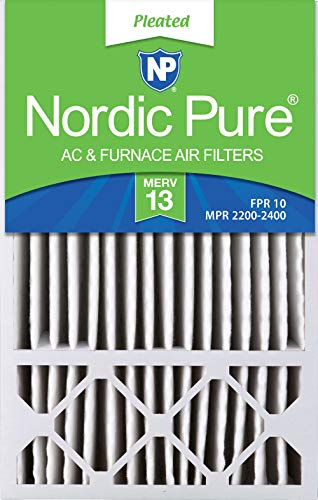 Nordic Pure 16x25x4/16x25x5 (4-3/8 Actual Depth) MERV 13 Honeywell FC100A1029 Replacement Pleated AC Furnace Air Filter, 5-Inch, 2 Pack (16 X 13 X 3 Inches Box)