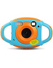 Upgrow Creative Kids Digital Camera Rechargeable Kids Cameras Mini 1.77 inch Screen HD Video Action Camera Camcorder Christmas New Year Birthday Festival Toy Gift for Children Boys Girls