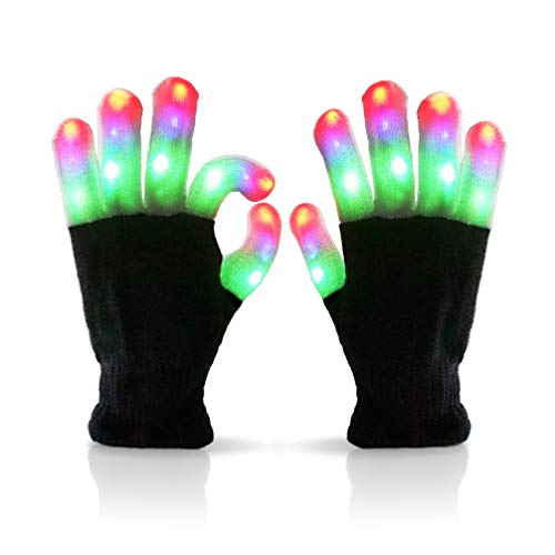 Luwint LED Colorful Flashing Finger Lighting Gloves with Extra Batteries