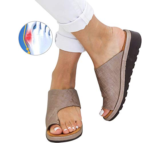 Athlefit Women's Comfy Bunion Shoes Platform Slipper Big Toe Slide Wedge Sandals Size 8 Khaki