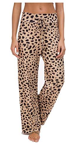 Artfish Women's Loose Baggy Yoga Long Pants Floral Printed Trousers Flowy Beach Pants (17#Leopard, XXL)
