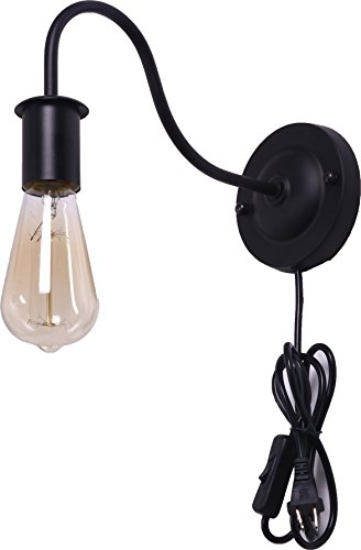 BRIGHTESS Retro Wall Sconces Light Wall Lamp Wall Mount Set of 2 Packs E26 Base Plug in Black Industrial Vintage Edison Wall Lamp Fixture Led Porch Light for Indoor Bathroom by BRIGHTESS (Image #4)