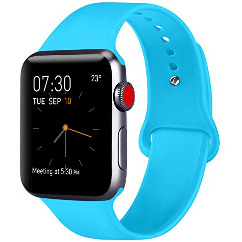 ATUP Compatible with for Apple Watch Replacement Band 38mm 40mm 42mm 44mm Women Men, Soft Silicone Band Compatible with for iWatch Series 4, 3, 2, 1 (Teal, 38mm/40mm-M/L)