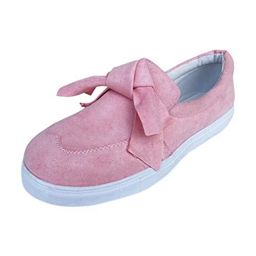 Femmes Chaussures Femmes Bowknot Plat Slip on Sneakers Chaussures De Mode Filles Casual Chaussures à Fond Plat Mocassins BaZhaHei Rose