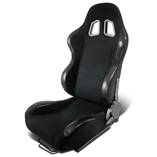 Full Reclinable Black Cloth Carbon Look PVC Leather Type-R Racing Seat+Adjustable Slider - Car Racing Seats