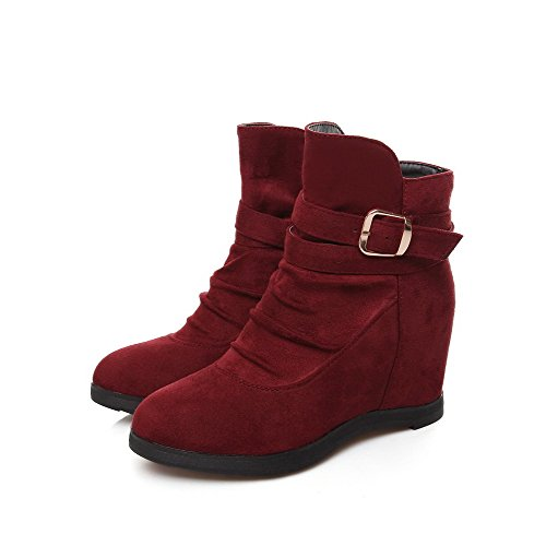 Heels top Claret Women's Solid Low Imitated Boots Suede AmoonyFashion on Pull High I6zPq