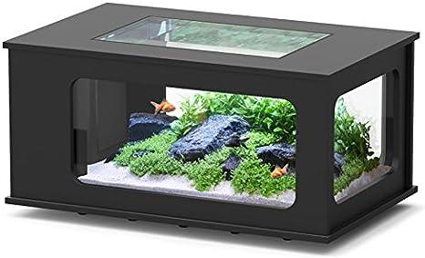 Acuario mesa LED 130 x 75 cm negro: Amazon.es: Productos para ...