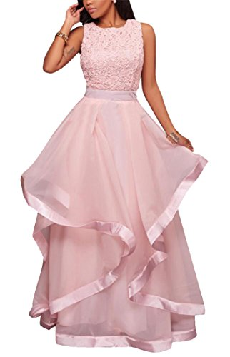 GenericWomen Generic Womens Sexy Chiffon Slim Pure Color Low Back Evening Dresses Pink XXS by GenericWomen