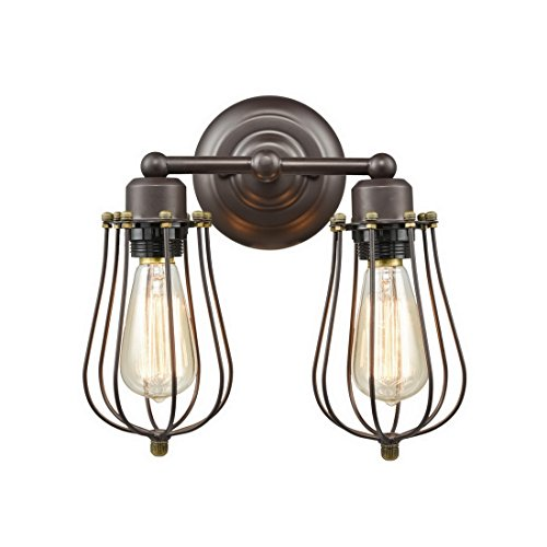 Truelite Industrial Vintage Mini 2 Light Metal Orb Wall Sconce Wire Cage Lamp