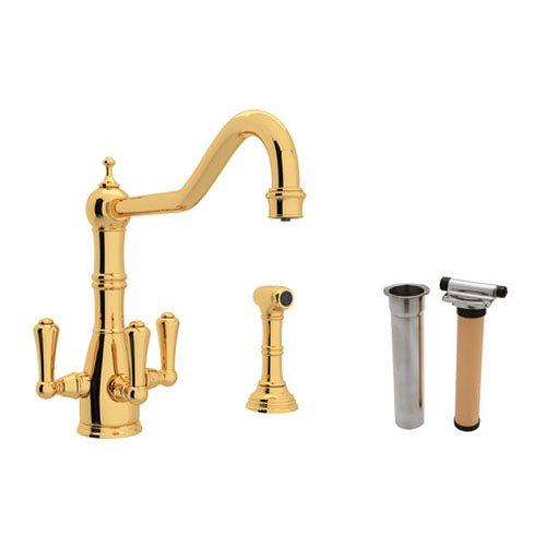 (Rohl U.KIT1576LS-IB-2 Perrin and Rowe Triple Handle Filtering Kitchen Faucet, Inca Brass )