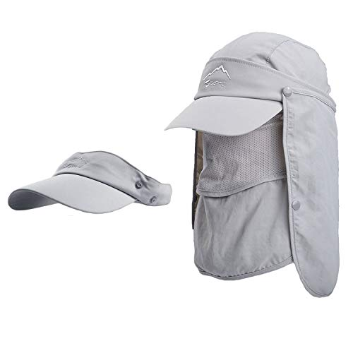 - HH HOFNEN Summer Sun Hat for Fishing Hunting Camping Boating, Quick-Drying Baseball Cap Sun Visors with Removable Neck Flap & Face Cover Mask for Men Women