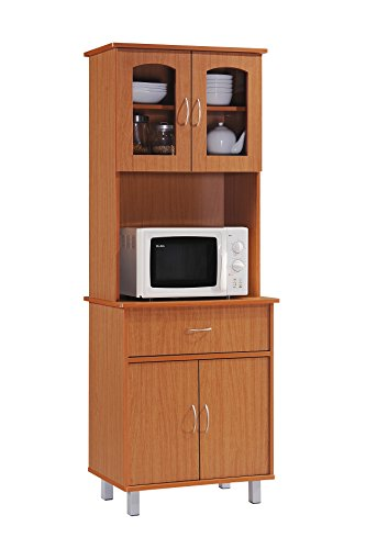 Microwave Storage - Hodedah Long Standing Kitchen Cabinet with Top & Bottom Enclosed Cabinet Space, One Drawer, Large Open Space for Microwave, Cherry