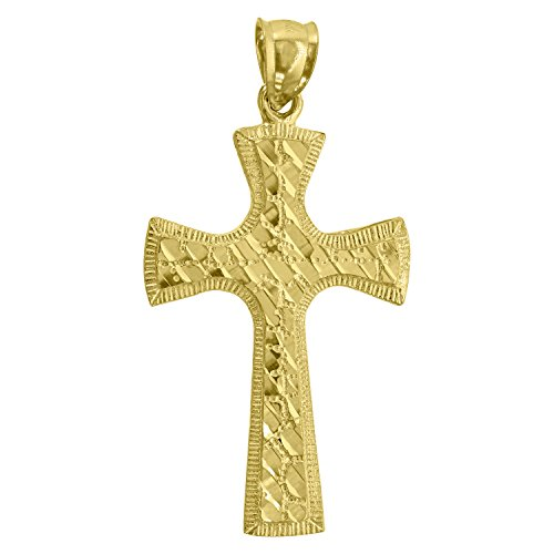 14kt Yellow Gold Nugget Cross - 2