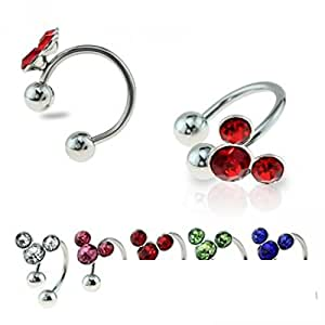 """Silver Mouse Horseshoe Cartilage Earring with Color Gem 316L Surgical Steel Size 16GA 3/8"""" Little Aiden (Clear)"""